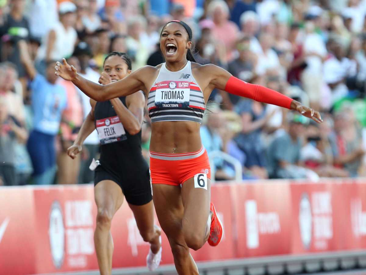 Gabby Thomas, center, wins the women's 200 meters with Allyson Felix, left, in fifth and Jenna Prandini capturing second place for silver during the Olympic Track and Field Trials at Hayward Field.