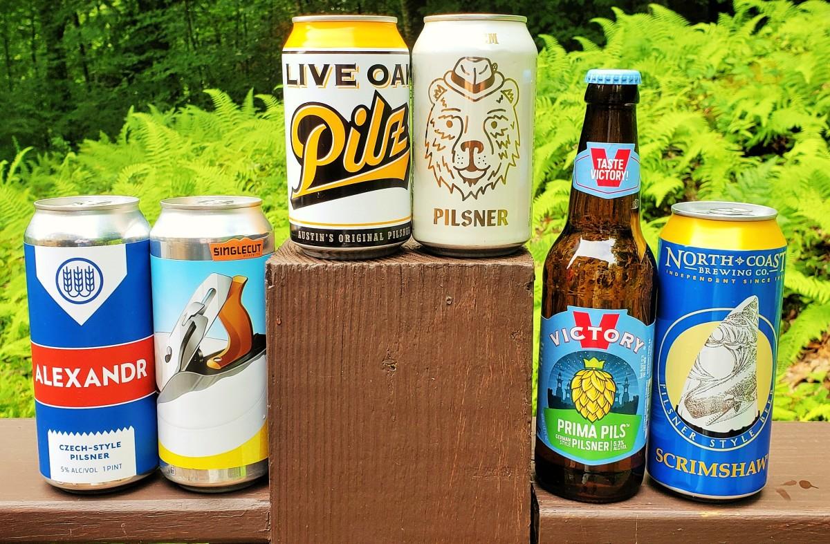 Take your pick of (from left)Alexandr, Plaintop, Live Oak Pilz, pFriem Pilsner, Prima Pils and Scrimshaw as pilsners worth a late summer taste.