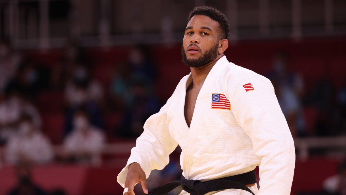 Colton Brown of Team USA prepares for his bout with Raphael Schwendinger of Liechtenstein during the Men's Judo 90kg Elimination Round of 32on day five of the Tokyo 2020 Olympic Games at Nippon Budokan on July 28, 2021 in Tokyo, Japan.