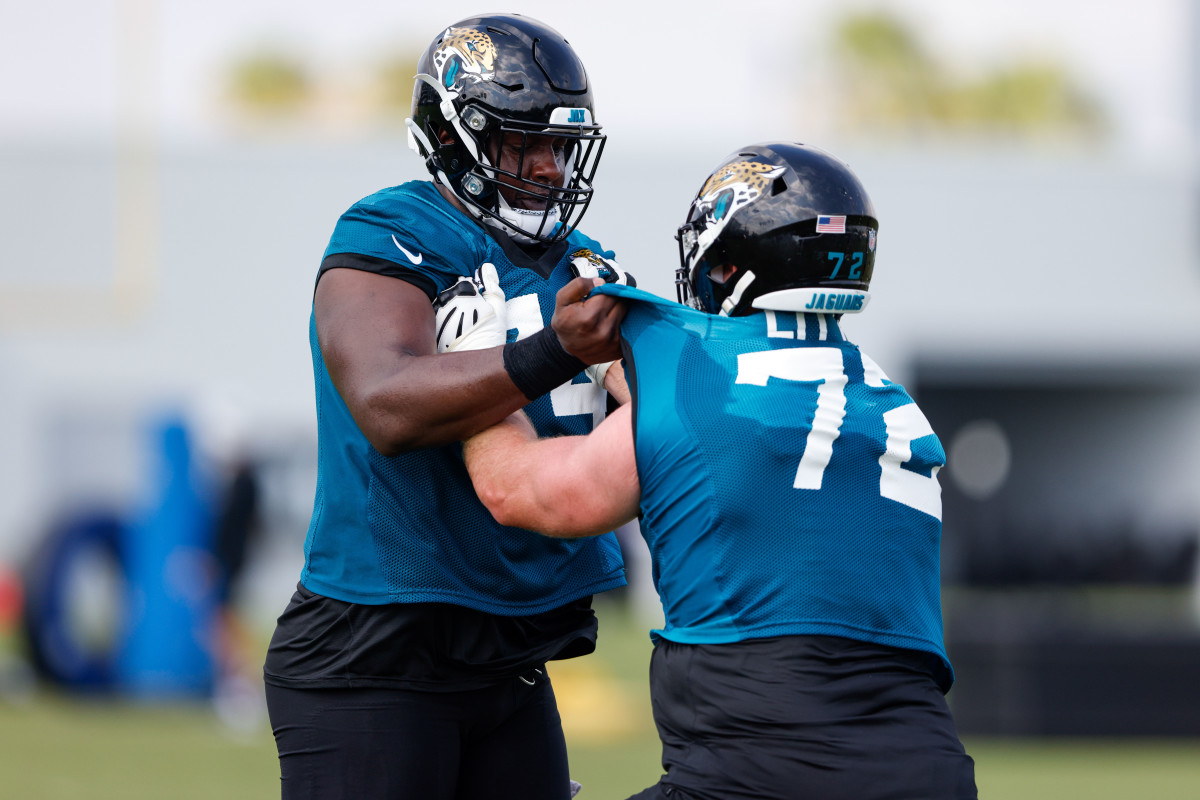 The battle between Cam Robinson and Walker Little at left tackle will be one to watch.Mandatory Credit: Nathan Ray Seebeck-USA TODAY Sports