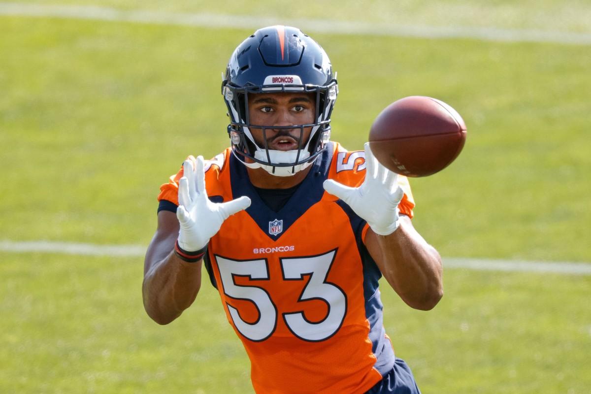 Denver Broncos outside linebacker Jonathon Cooper (53) during training camp at UCHealth Training Complex.