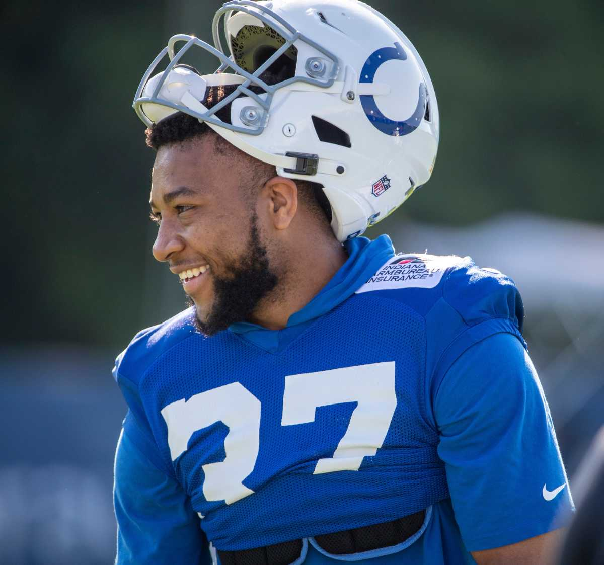 Indianapolis Colts safety Khari Willis (37) at Grand Park in Westfield on Monday, August 2, 2021, on the second week of workouts of this summer's Colts training camp. Head Coach Frank Reich reappeared at practice after being away for ten days after a COVID-19 positive test. Colts Get Their Coach Back On Week Two Of Colts Camp