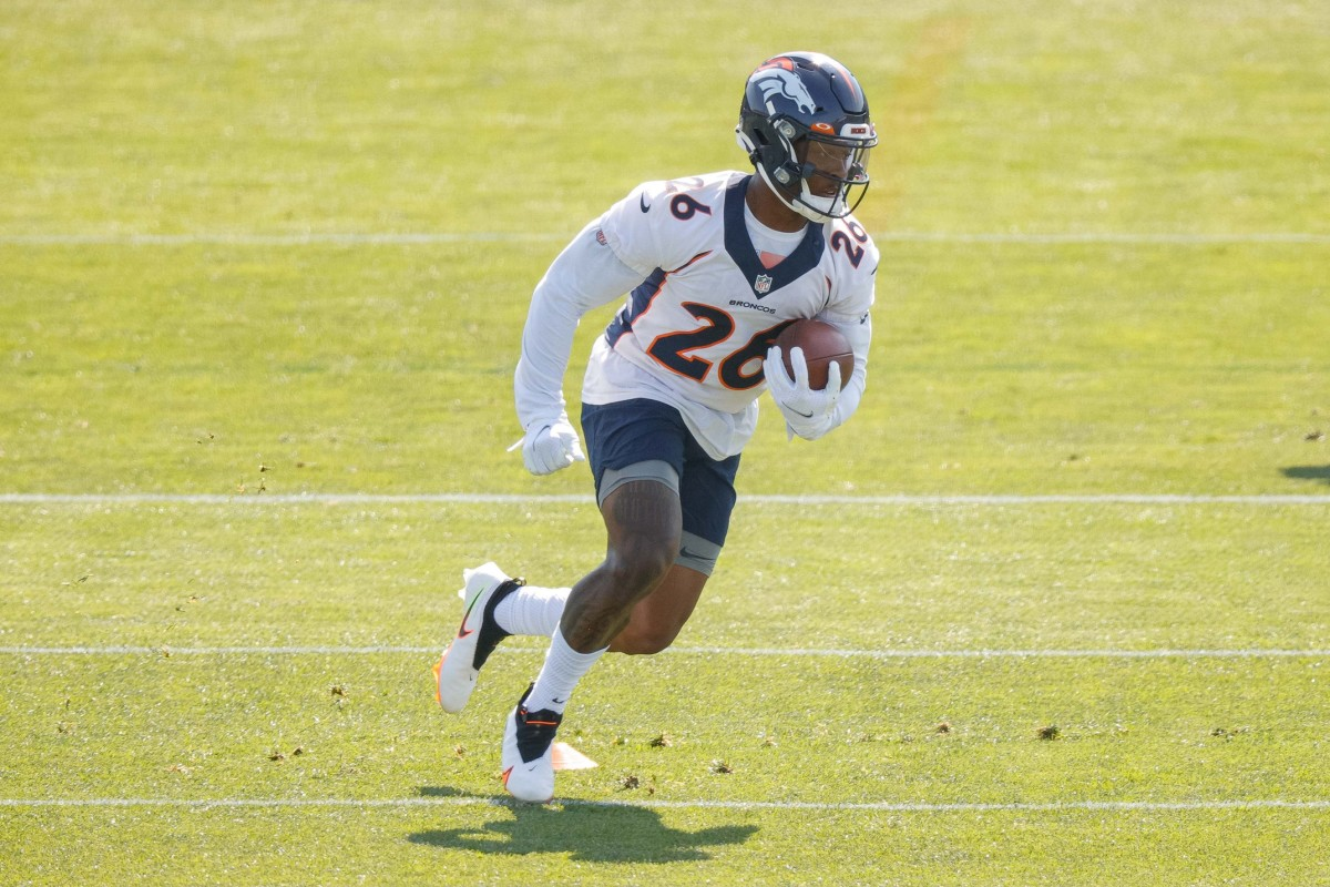 Denver Broncos running back Mike Boone (26) during training camp at UCHealth Training Complex.