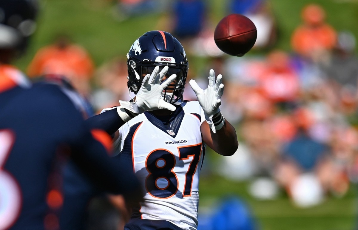 Denver Broncos tight end Noah Fant (87) during drills at the UCHealth Training Center.