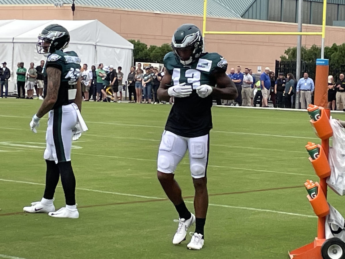 Travis Fulgham at practice on August 4