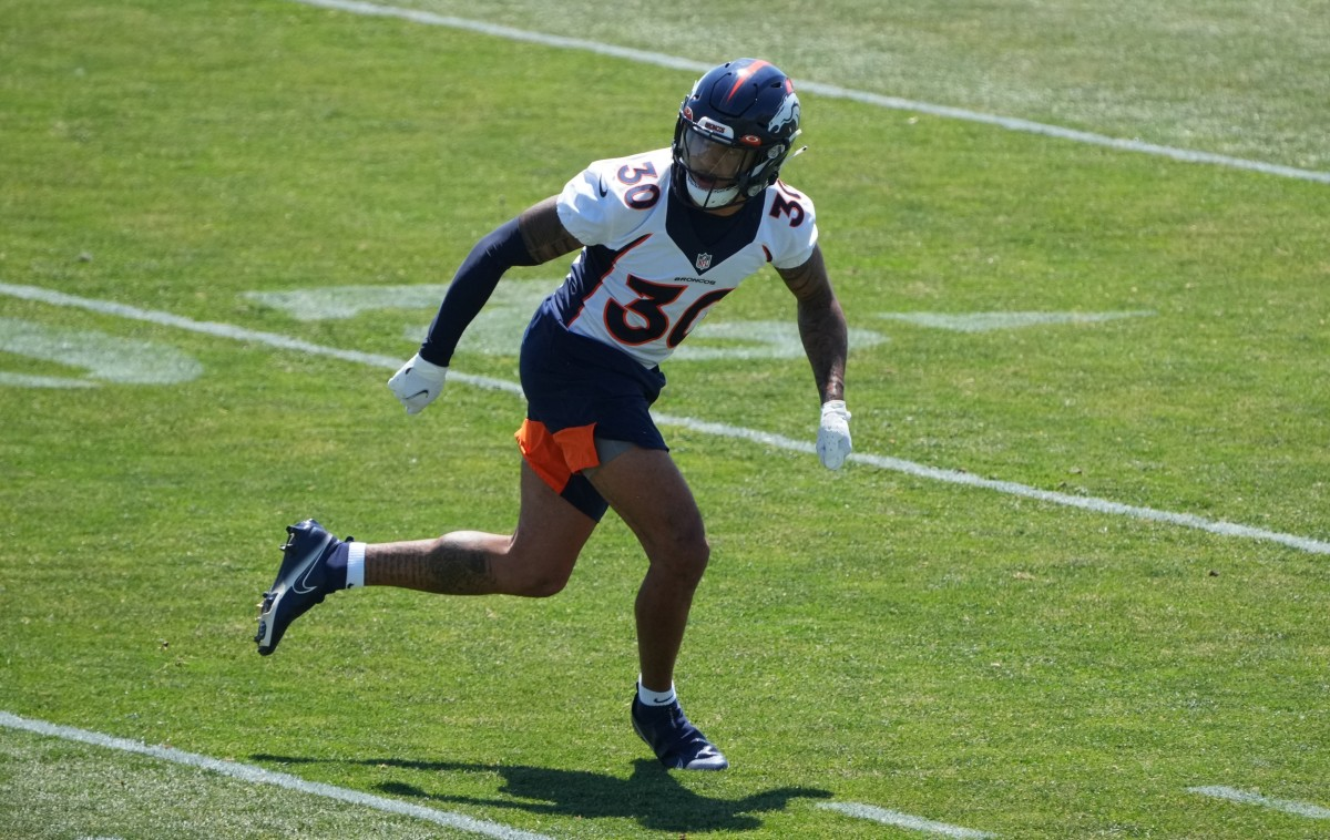 Denver Broncos safety Caden Sterns (30) during an offseason workout at the UCHealth Training Center.