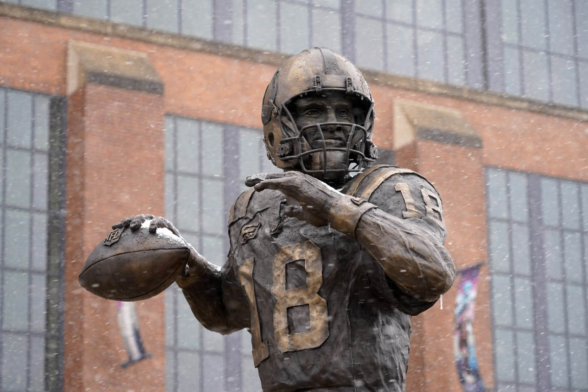 Feb 26, 2020; Indianapolis, Indiana, USA; Detailed view of statue of former Indianapolis Colts quarterback Peyton Manning outside of Lucas Oil Stadium.