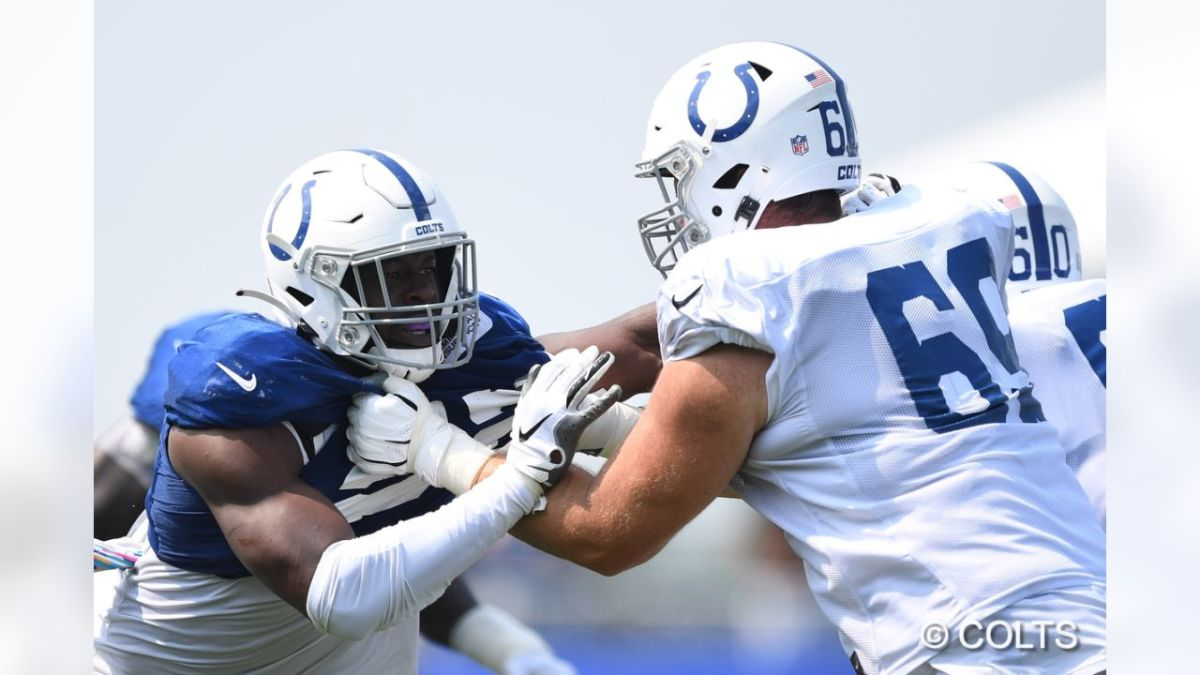 Indianapolis Colts offensive tackle Will Holden (69) blocking defensive end Ben Banogu (52) during 2021 training camp.
