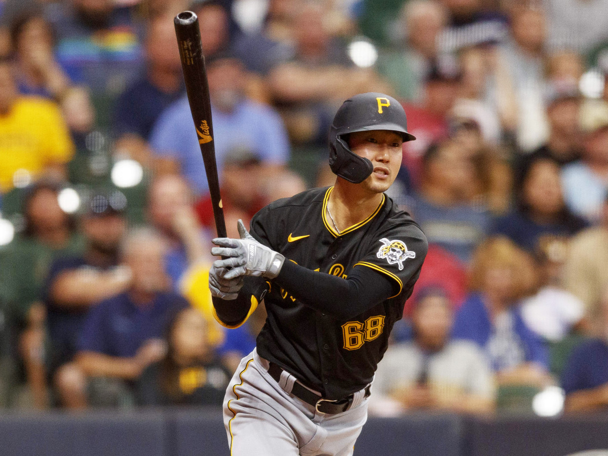 Aug 3, 2021; Milwaukee, Wisconsin, USA;  Pittsburgh Pirates center fielder Hoy Park (68) hits a three run double during the seventh inning against the Milwaukee Brewers at American Family Field.