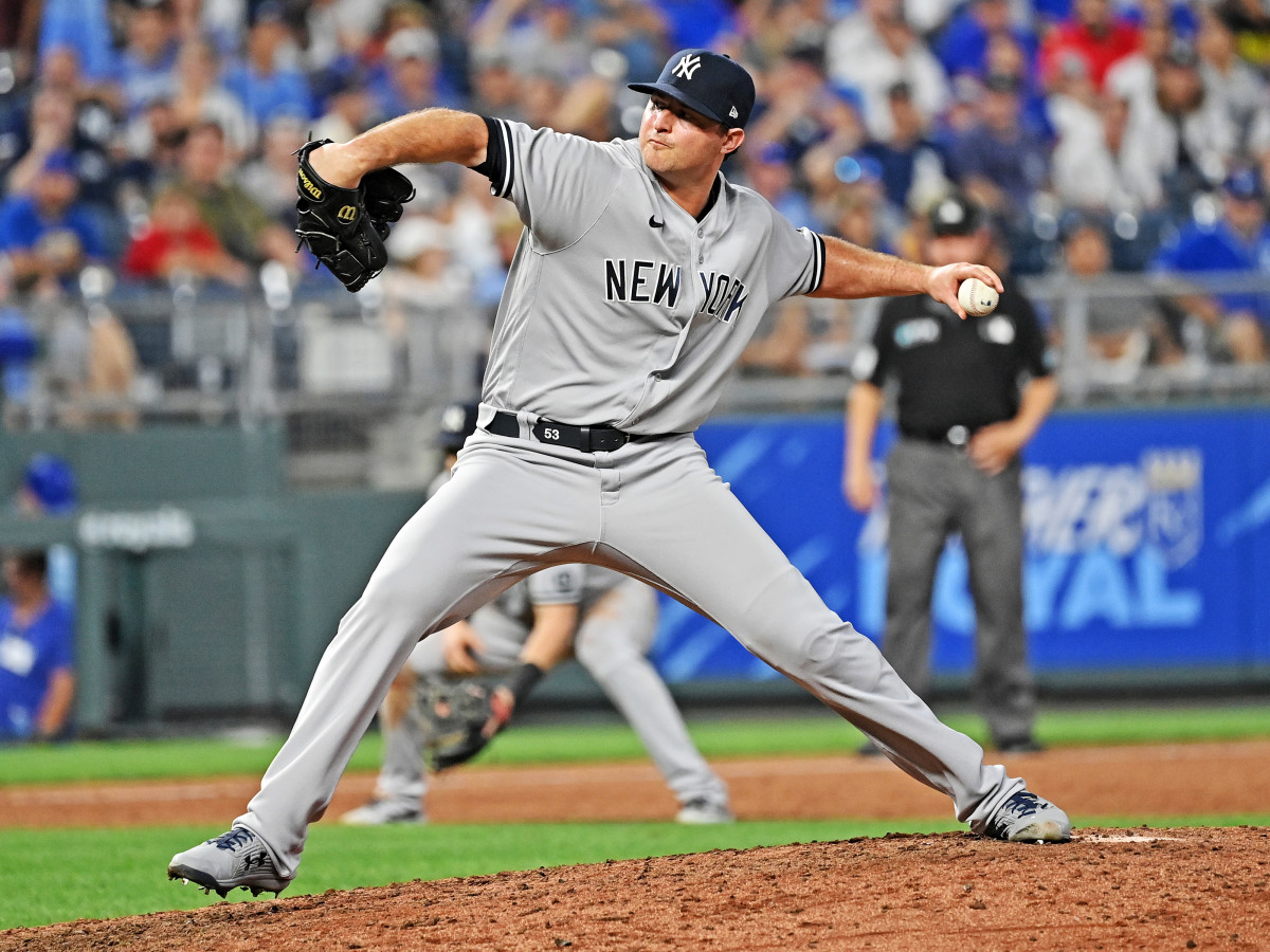 Aug 9, 2021; Kansas City, Missouri, USA;  New York Yankees relief pitcher Zack Britton (53) delivers a pitch against the Kansas City Royals during the ninth inning at Kauffman Stadium.