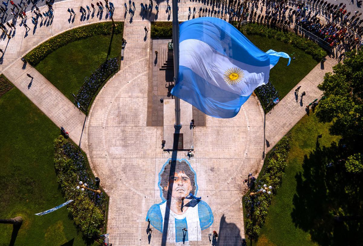 Flags flew half-mast for El Pibe in Buenos Aires.