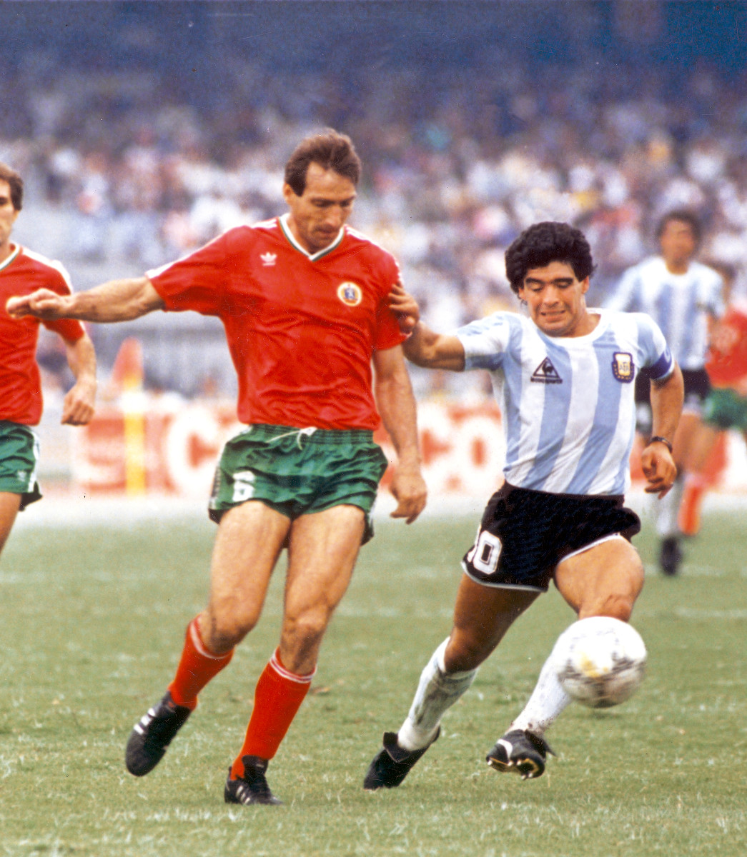 Before his two sublime goals against England, Maradona carved up Bulgaria at the 1986 World Cup in Mexico.