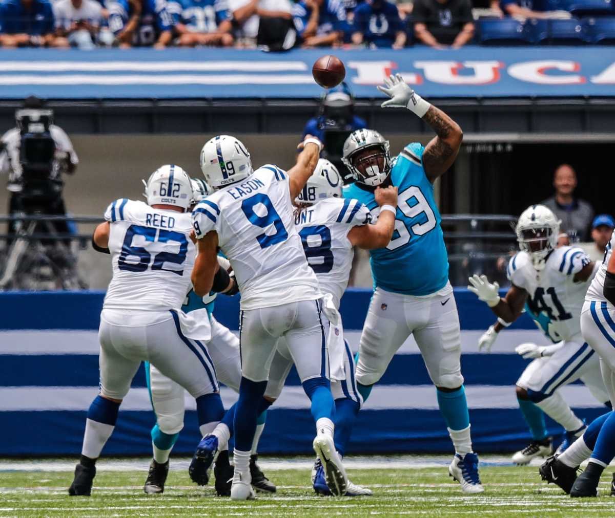 Indianapolis Colts quarterback Jacob Eason (9) throws the ball on Sunday, Aug. 15, 2021, during a pre-season game between the Indianapolis Colts and the Carolina Panthers at Lucas Oil Stadium in Indianapolis. Finals 14