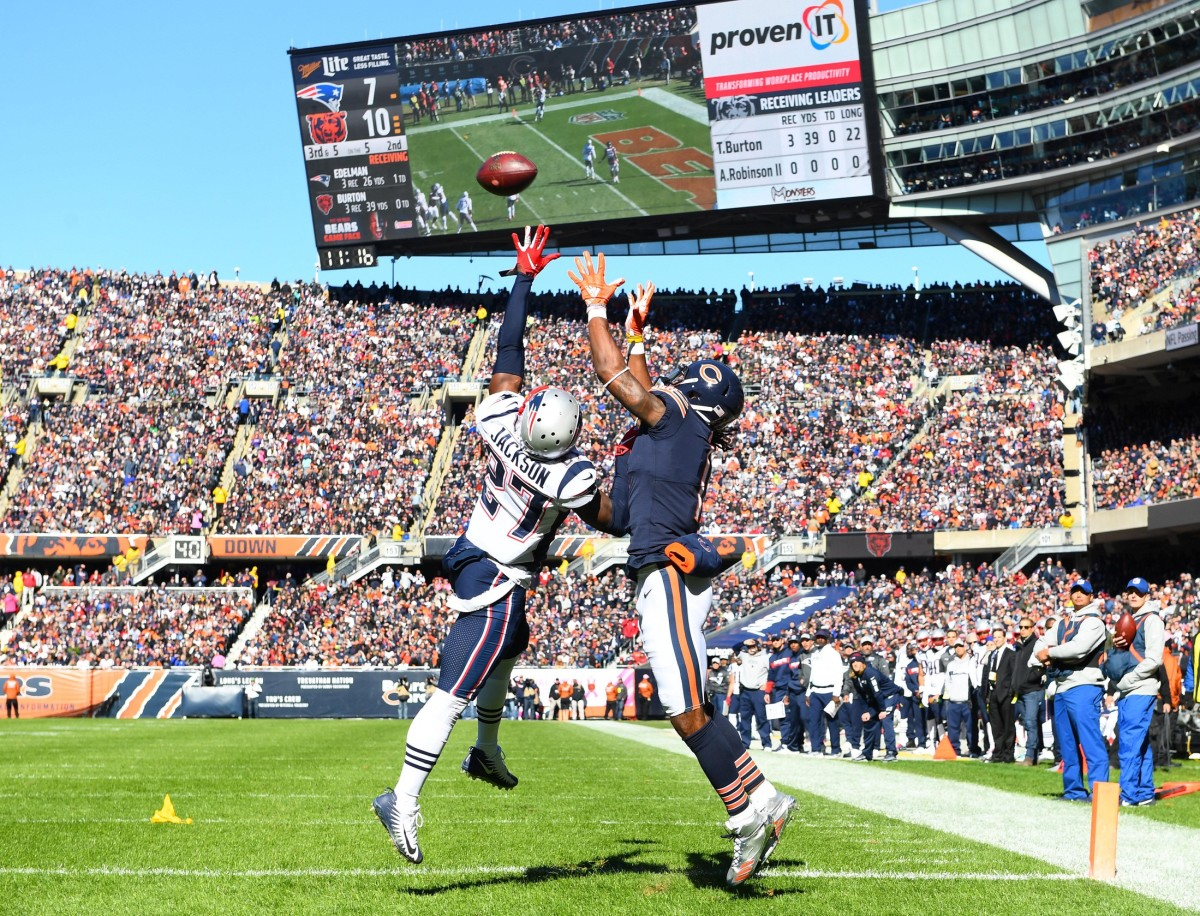 Chicago Bears receiver Kevin White (11) attempts to make a catch over Patriots defensive back J.C. Jackson (27). Mandatory Credit: Mike DiNovo-USA TODAY Sports