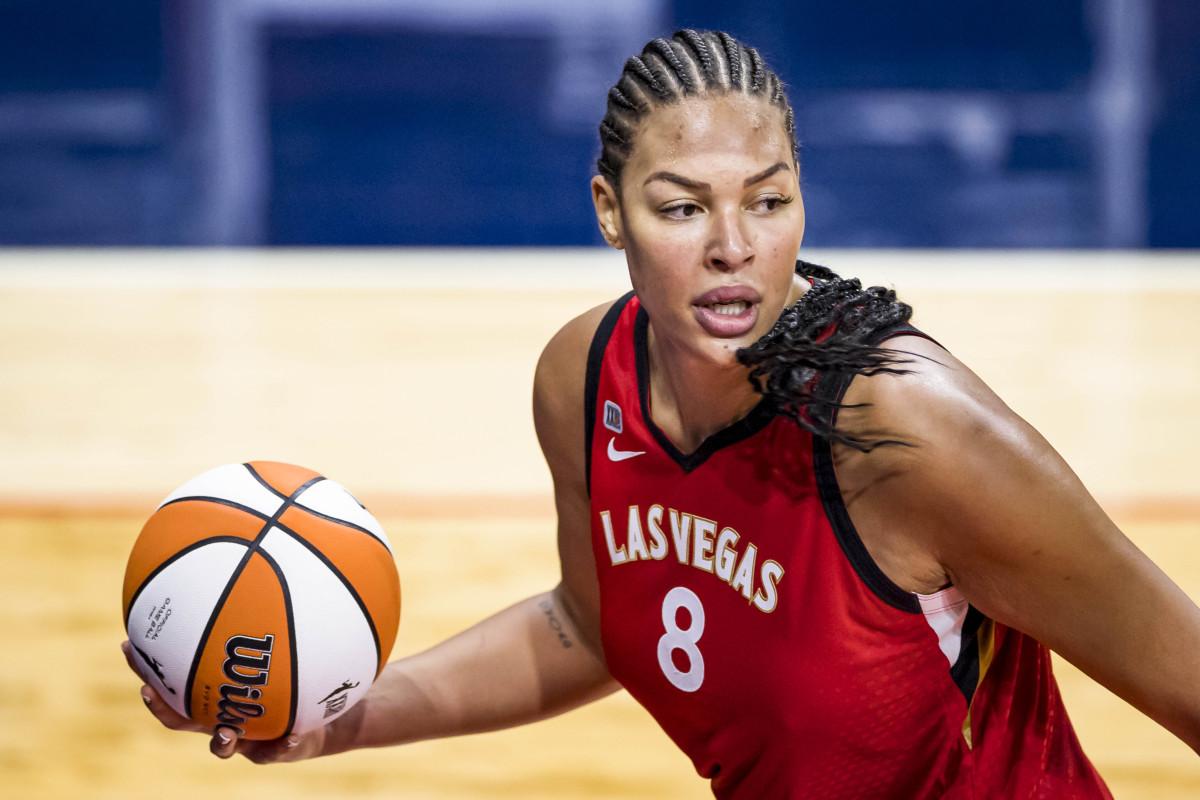 Liz Cambage palms the basketball
