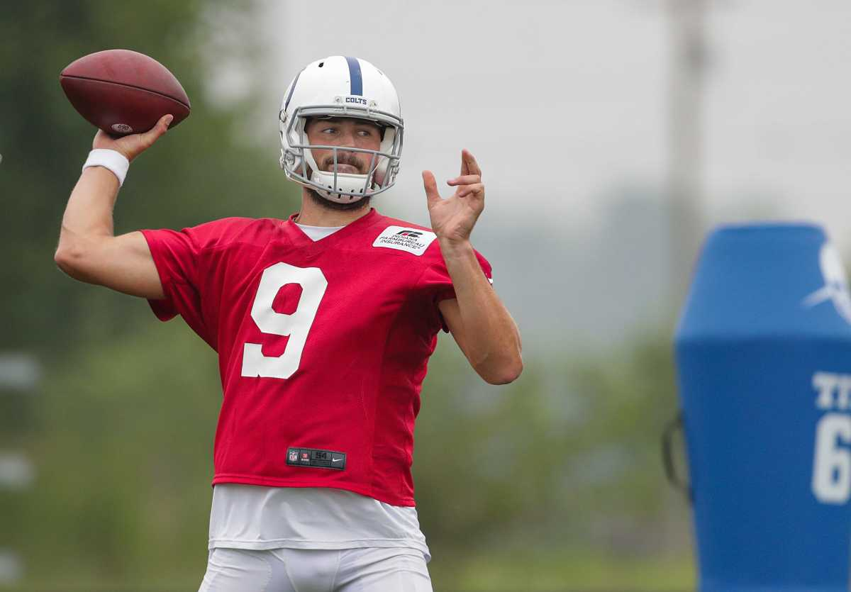 Indianapolis Colts quarterback Jacob Eason (9) practices throwing Tuesday, Aug. 17, 2021, during training camp at Grand Park in Westfield, Ind. Indianapolis Colts Training Camp At Grand Park In Westfield Indiana Tuesday Aug 17 2021