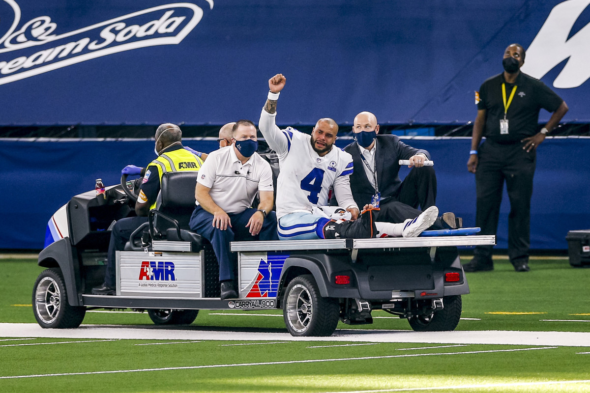 Dak Prescott cries as he's carted off the field with a season-ending ankle injury in 2020