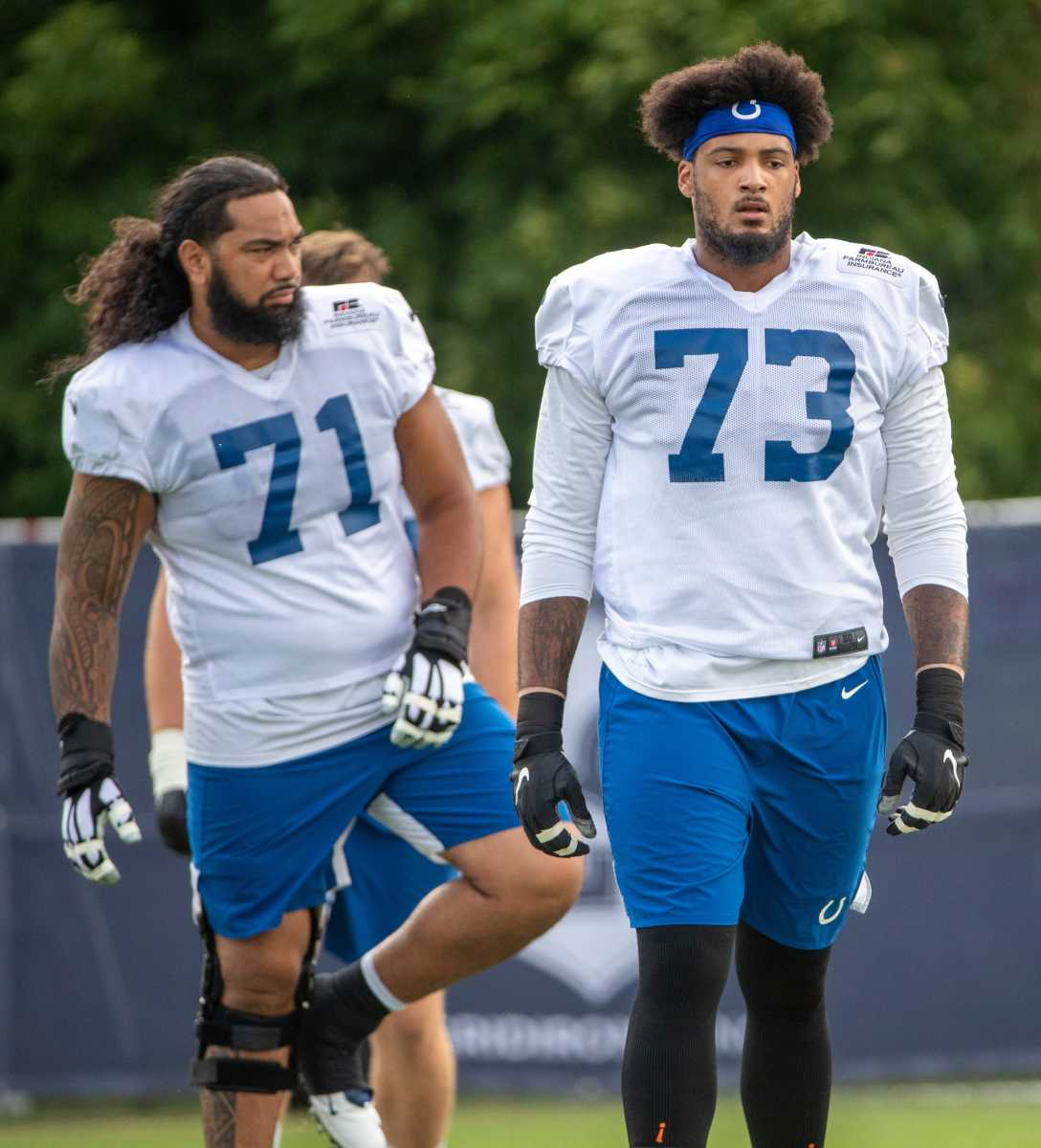 Indianapolis Colts offensive tackle Sam Tevi (71) and Indianapolis Colts offensive tackle Julien Davenport (73) at Grand Park in Westfield on Monday, August 10, 2021, on the third week of workouts of this summer's Colts training camp. Wentz Back At Colts Camp