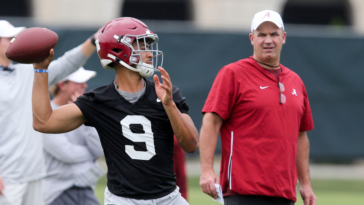 Alabama QB Bryce Young throws in practice