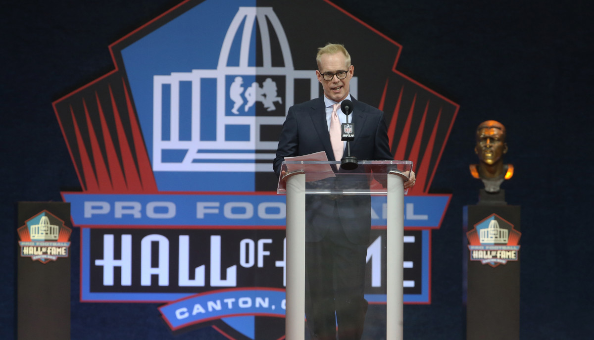 Aug 7, 2021; Canton, Ohio, USA; Broadcaster Joe Buck accepts the 2020 Pete Rozelle Award during the Professional Football HOF enshrinement ceremonies at Tom Benson Hall of Fame Stadium. Mandatory Credit: Charles LeClaire-USA TODAY Sports