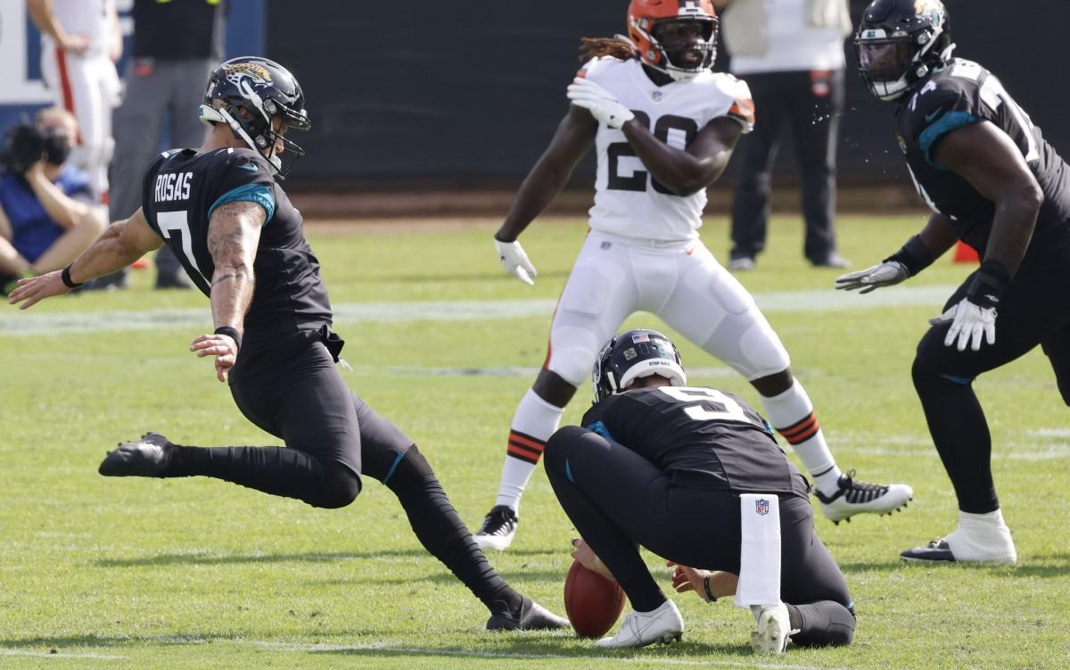 Jacksonville Jaguars kicker Aldrick Rosas kicks a field goal against the Cleveland Browns. Mandatory Credit: Reinhold Matay-USA TODAY