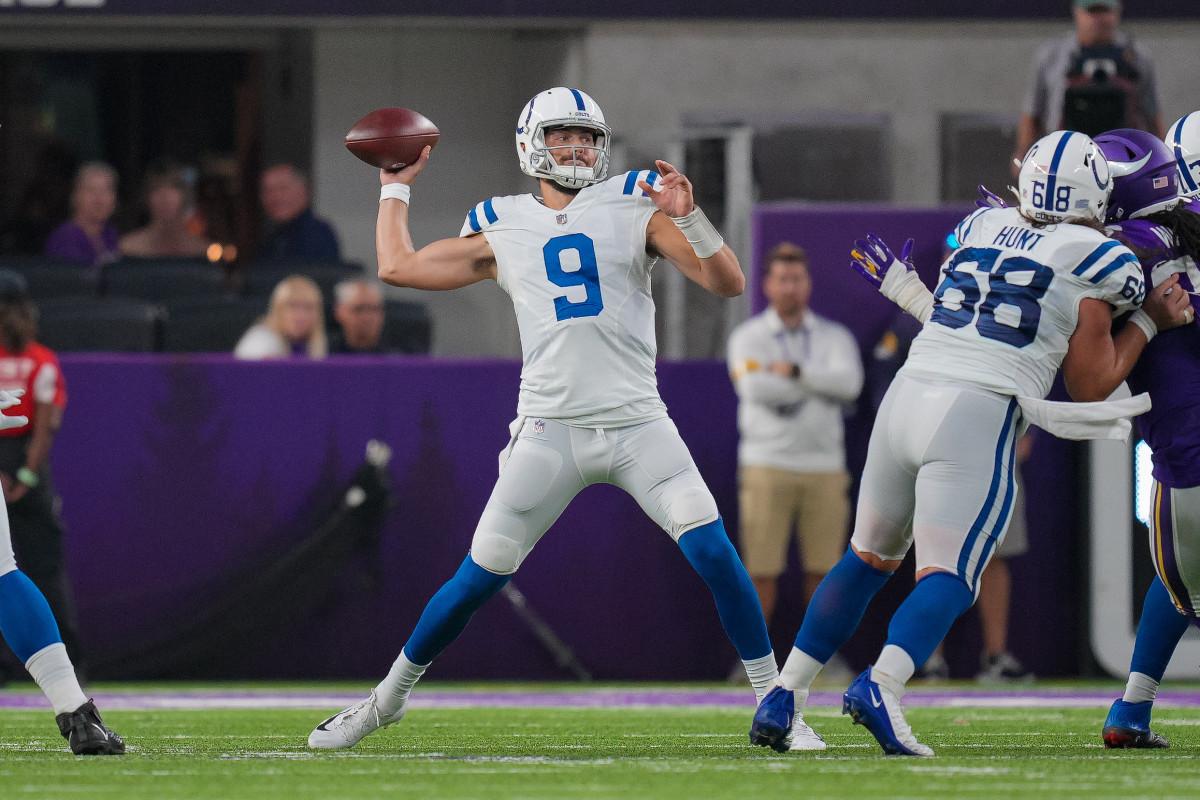 Aug 21, 2021; Minneapolis, Minnesota, USA; Indianapolis Colts quarterback Jacob Eason (9) passes against the Minnesota Vikings in the second quarter at U.S. Bank Stadium.