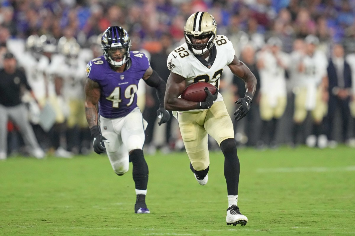 New Orleans Saints' tight end Juwan Johnson (83) makes a second quarter catch against the Baltimore Ravens. Mandatory Credit: Mitch Stringer-USA TODAY Sports