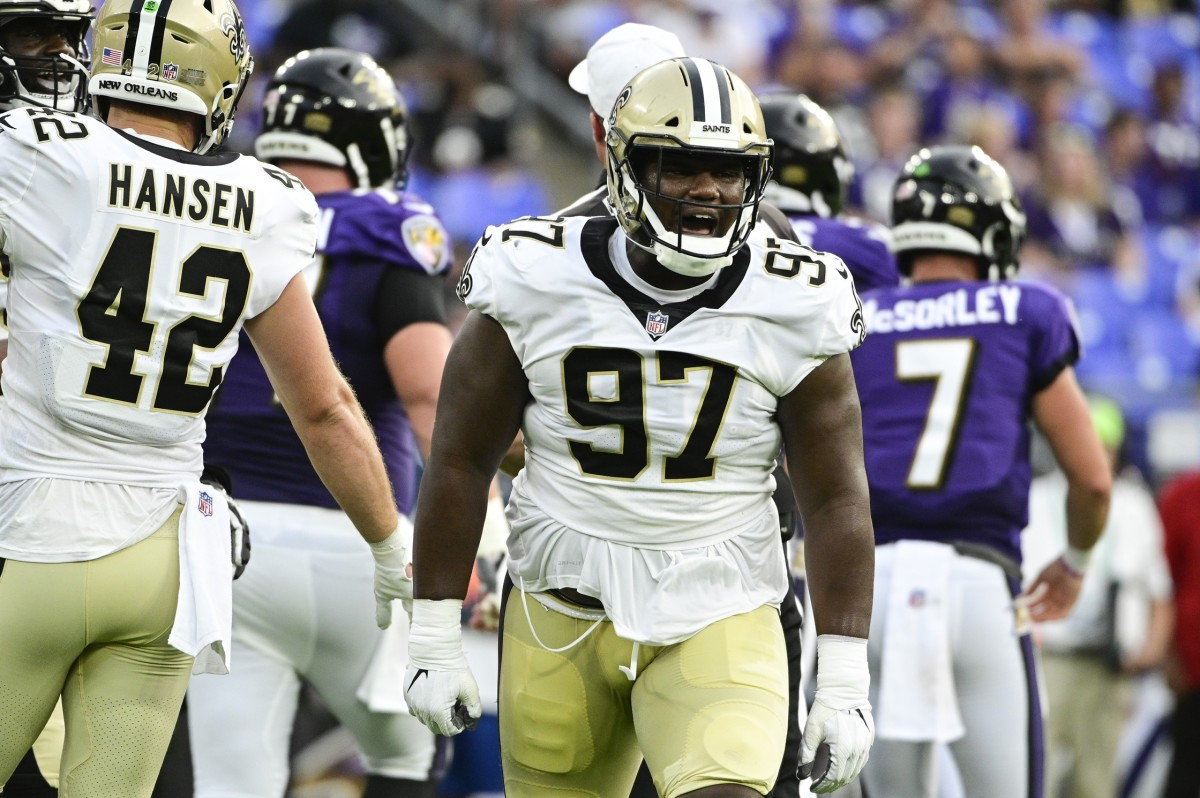 New Orleans Saints defensive tackle Malcolm Roach (97) reacts after making a tackle during the first quarter against the Baltimore Ravens. Mandatory Credit: Tommy Gilligan-USA TODAY Sports