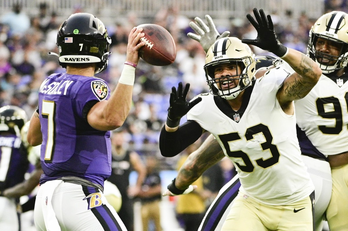 New Orleans Saints linebacker Zack Baun (53) applies pressure on Ravens quarterback Trace McSorley (7). Mandatory Credit: Tommy Gilligan-USA TODAY Sports