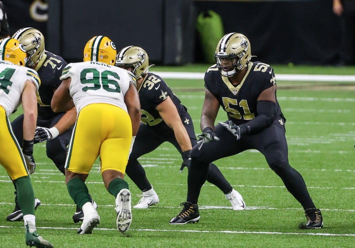 New Orleans Saints offensive lineman Cesar Ruiz (51). Credit: si.com/USA TODAY