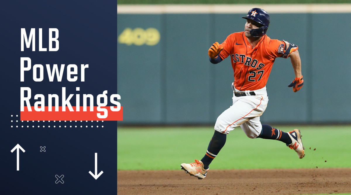 José Altuve running the base path next to a graphic reading MLB Power Rankings