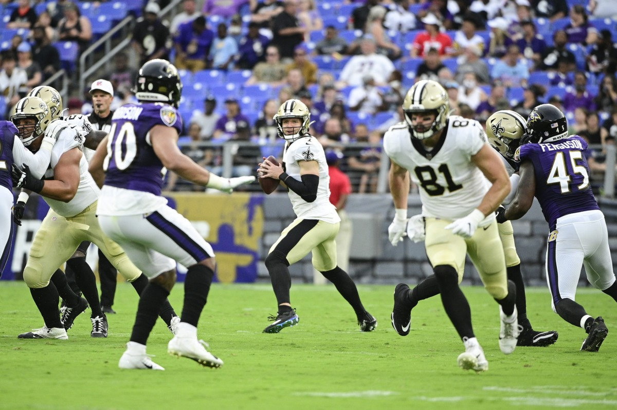 New Orleans Saints quarterback Taysom Hill (7) throws against the Baltimore Ravens. Mandatory Credit: Tommy Gilligan-USA TODAY Sports