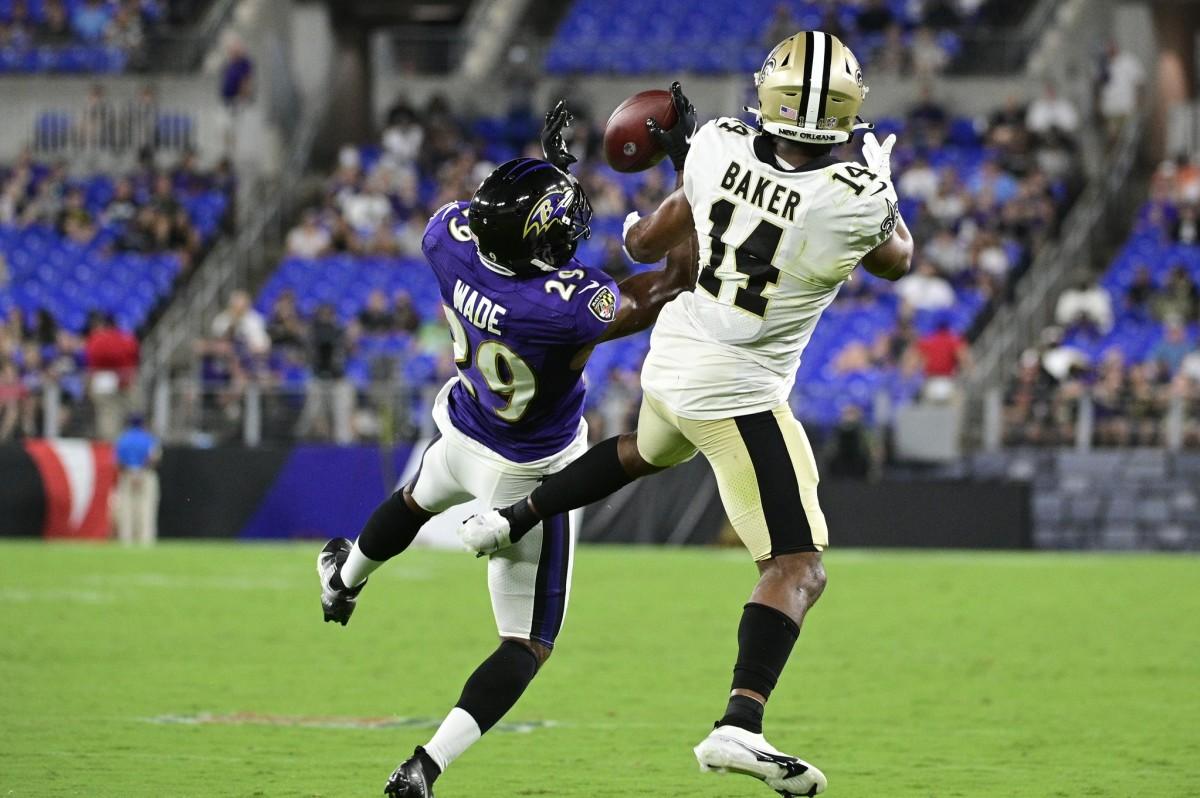 Baltimore cornerback Shaun Wade (29) intercepts a pass intended for New Orleans Saints receiver Kawaan Baker (14). Mandatory Credit: Tommy Gilligan-USA TODAY