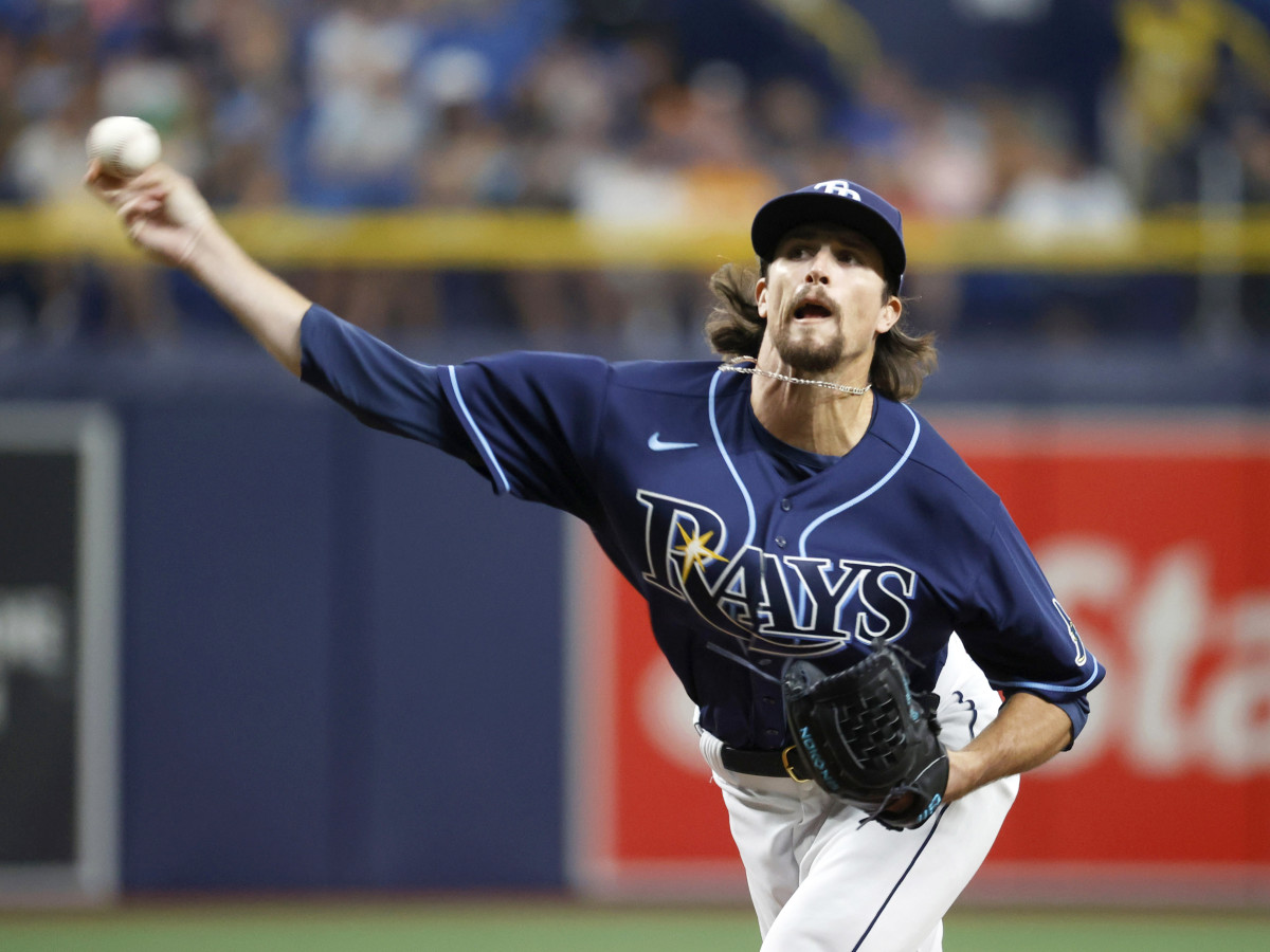 Aug 20, 2021; St. Petersburg, Florida, USA; Tampa Bay Rays pitcher Chris Mazza (15) throws a pitch during the seventh inning against the Chicago White Sox at Tropicana Field.
