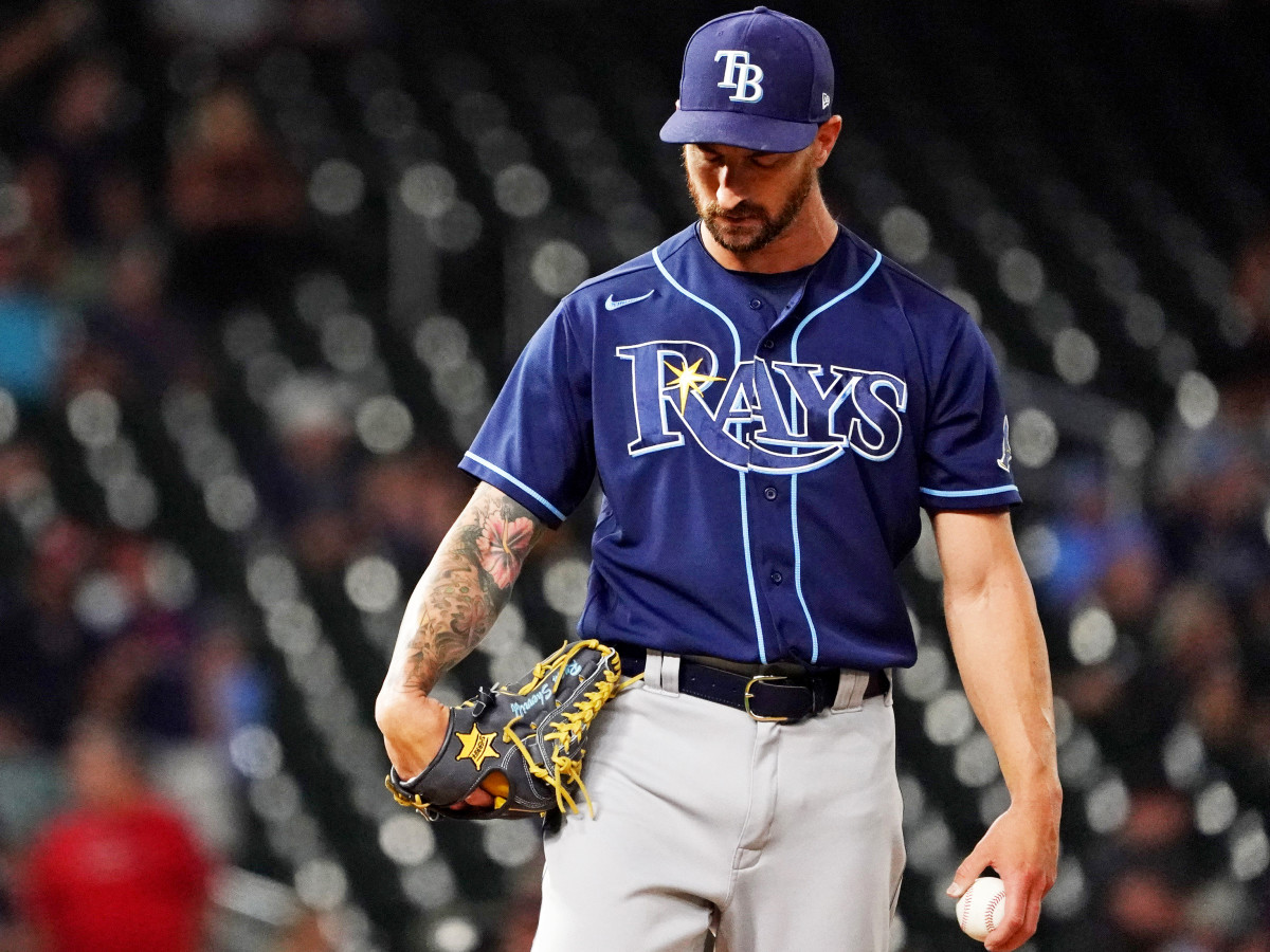 Aug 14, 2021; Minneapolis, Minnesota, USA;  Tampa Bay Rays relief pitcher Ryan Sherriff (71) prepares to throw during a game with the Minnesota Twins at Target Field.