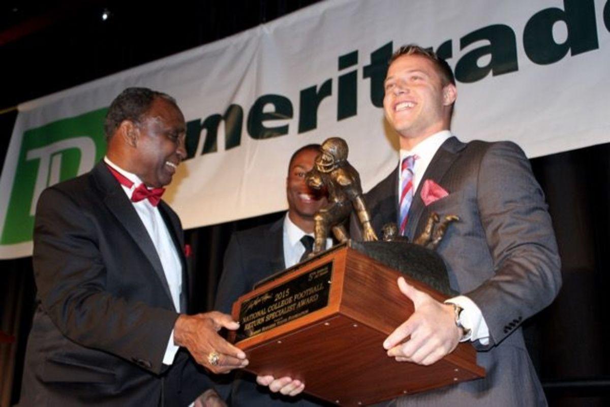 Christian McCaffrey takes home The Jet Award
