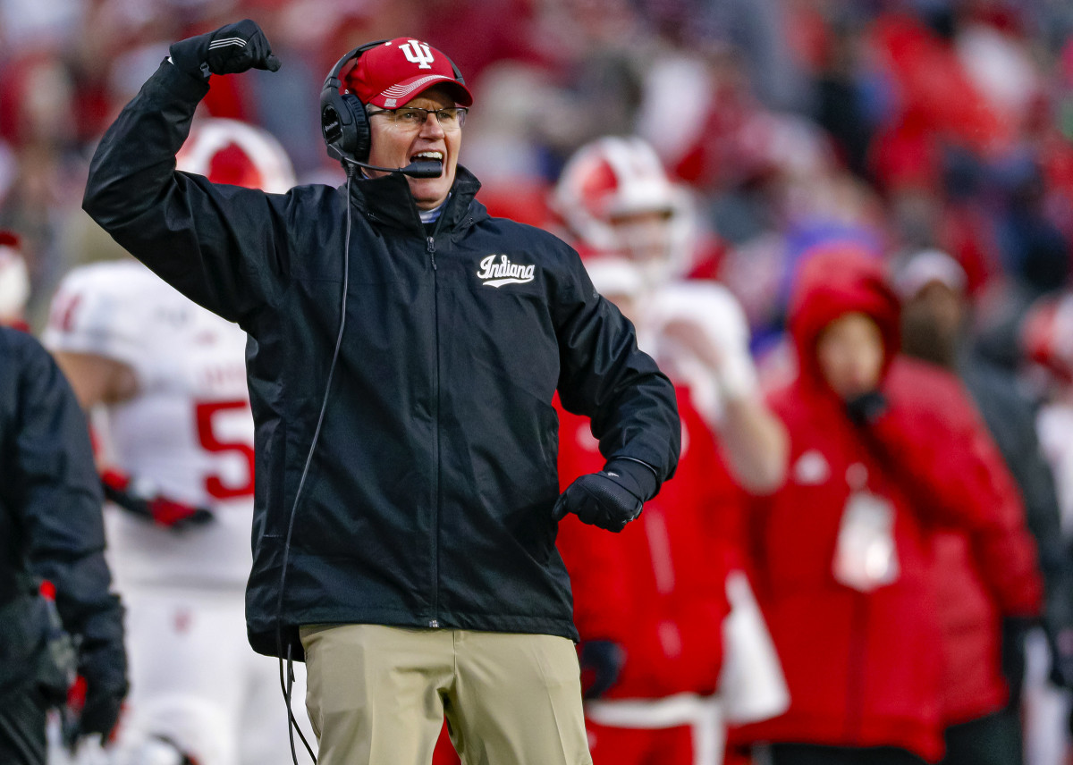 Indiana coach Tom Allen pumps his fists during a game