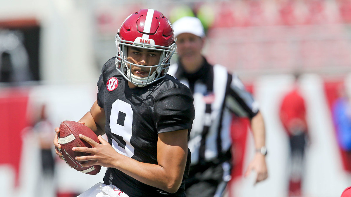 Bryce Young, Alabama QB, during spring practice