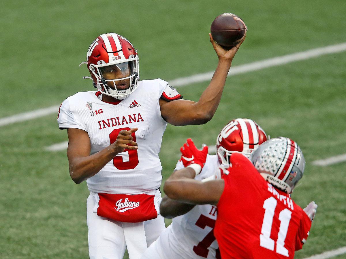 Indiana QB Michael Penix Jr throws vs. Ohio State