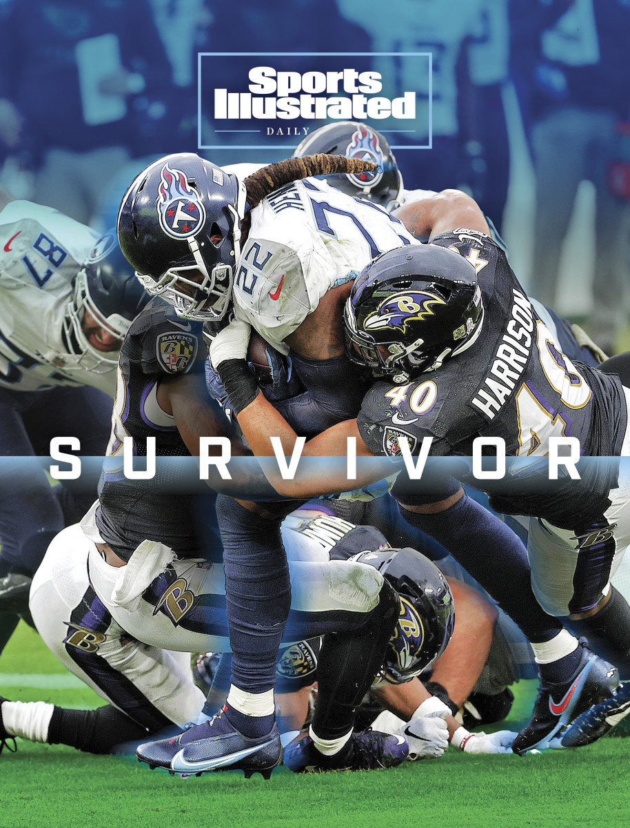Derrick Henry runs through Ravens defenders on SI Daily Cover