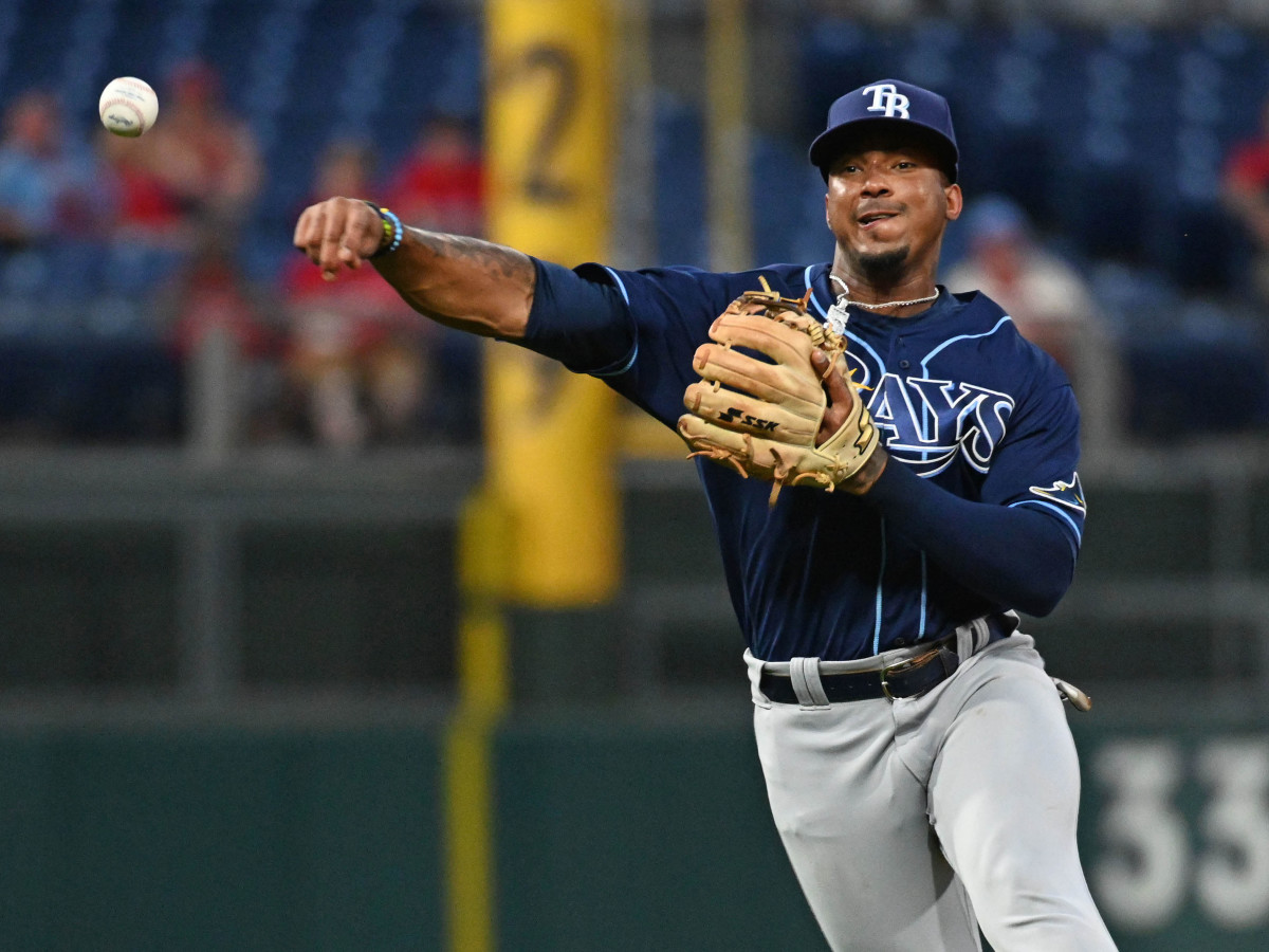 Tampa Bay Rays shortstop Wander Franco (5) throws to first base against the Philadelphia Phillies during the second inning at Citizens Bank Park.