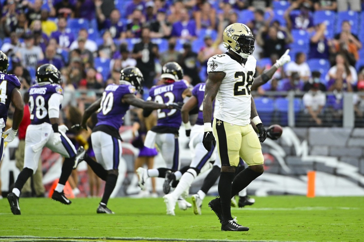 New Orleans Saints running back Latavius Murray (28) walks off the field against the Baltimore Ravens. Mandatory Credit: Tommy Gilligan-USA TODAY Sports