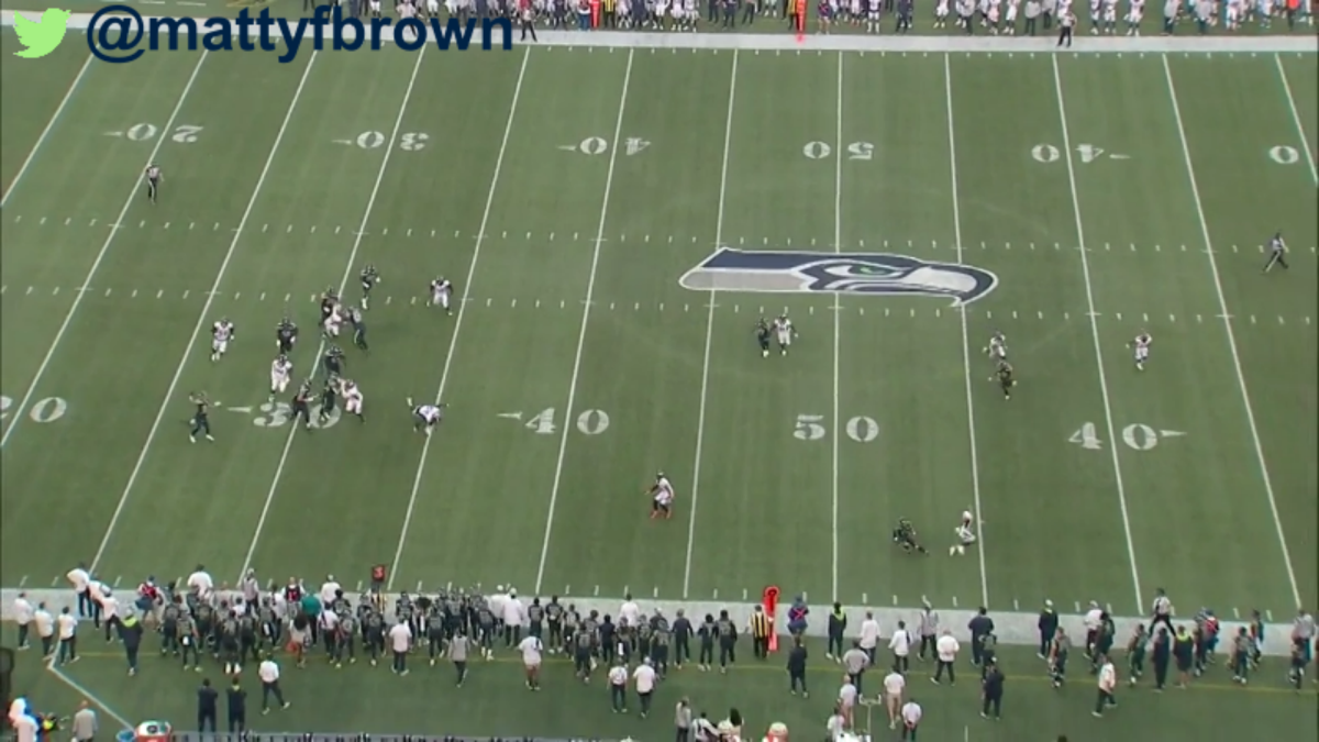 The open receivers at the throw