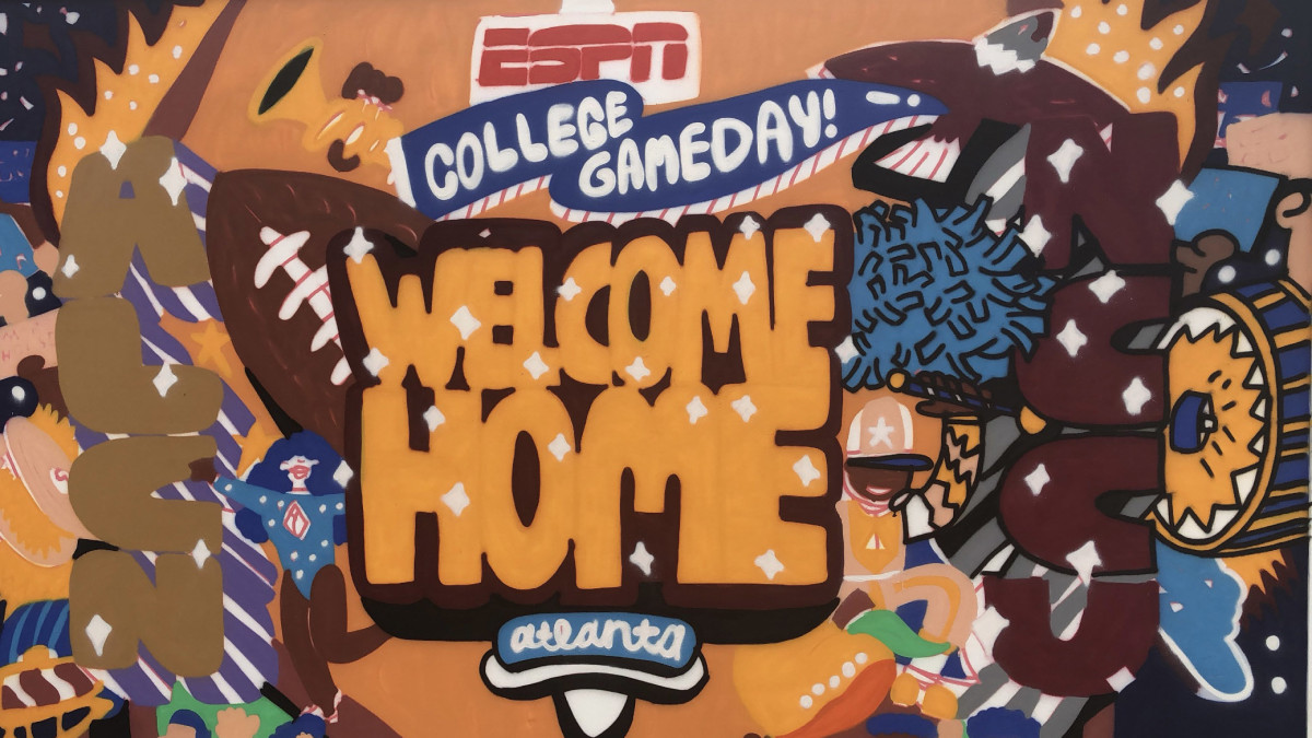 """George F. Baker, a local artist and Georgia State alum, painted the """"Welcome Home"""" mural to celebrate the culture of HBCUs ahead of the 2021 MEAC/SWAC Challenge on Aug. 28, 2021 in Atlanta."""