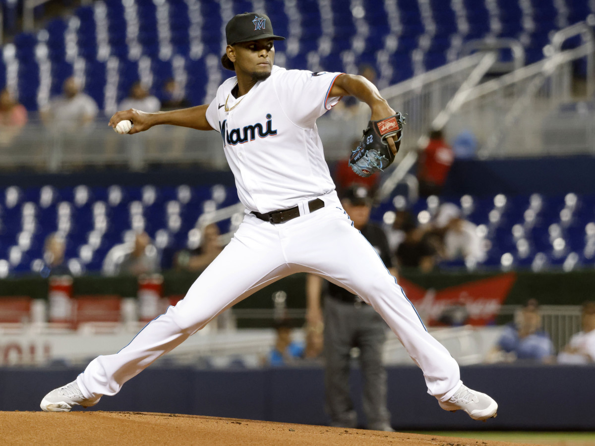 Aug 25, 2021; Miami, Florida, USA;  Miami Marlins starting pitcher Edward Cabrera (79) delivers a pitch during the first inning against the Washington Nationals at loanDepot Park.