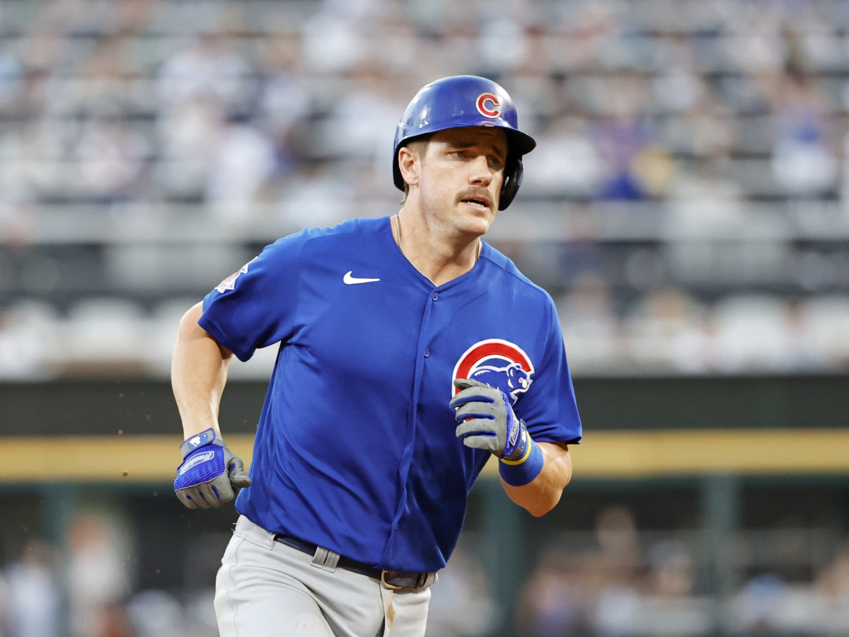 Aug 28, 2021; Chicago, Illinois, USA; Chicago Cubs third baseman Patrick Wisdom (16) rounds the bases after hitting a solo home run against the Chicago White Sox during the fourth inning at Guaranteed Rate Field.