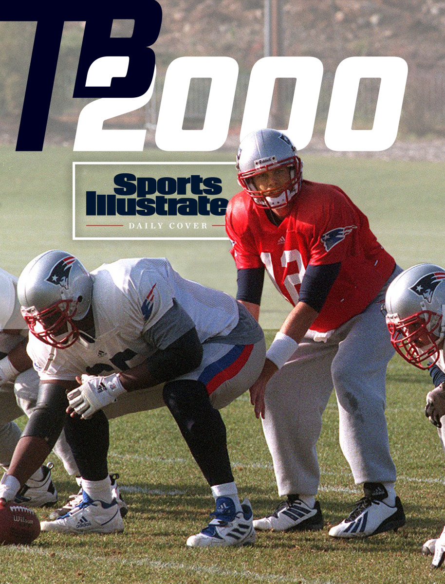Tom Brady takes a snap during a practice during his rookie season in 2000