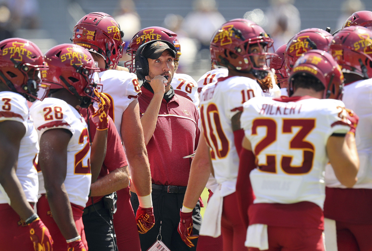 Iowa State football in the huddle with Matt Campbell