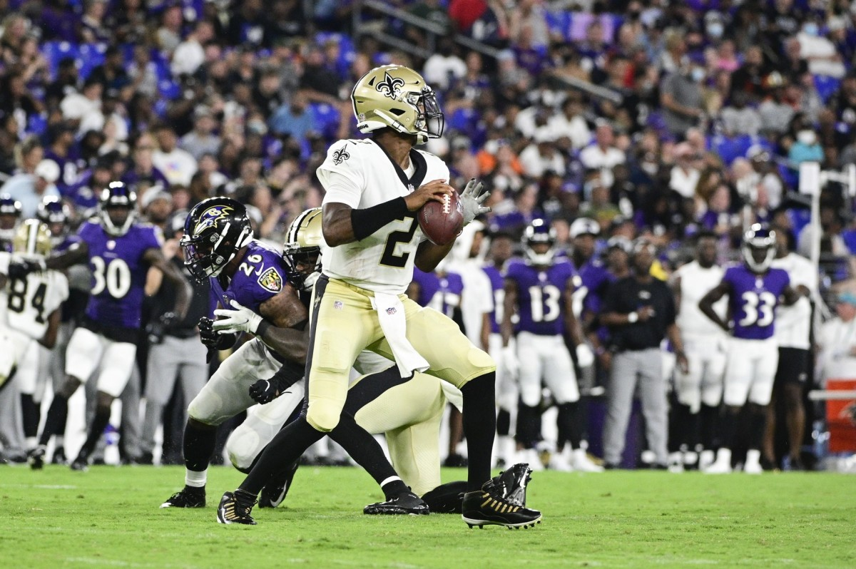 New Orleans Saints quarterback Jameis Winston (2) drops back to pass against the Baltimore Ravens. Mandatory Credit: Tommy Gilligan-USA TODAY Sports