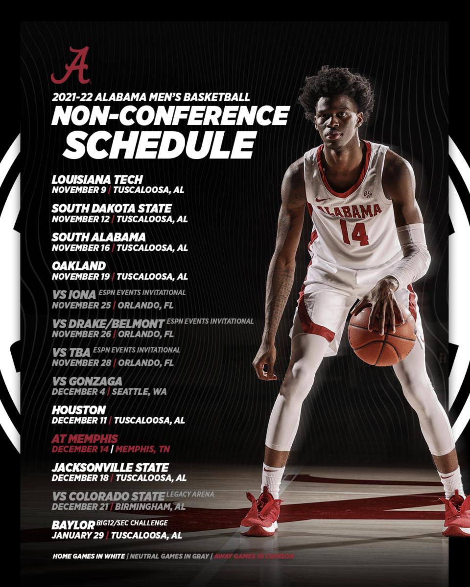 Alabama Basketball 2021-2022 Non-Conference Schedule